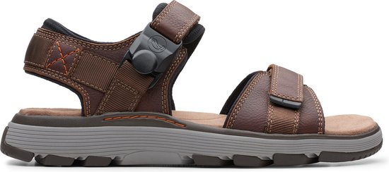 Clarks Un Trek Part Heren Sandalen - Dark Tan Lea - Maat 46