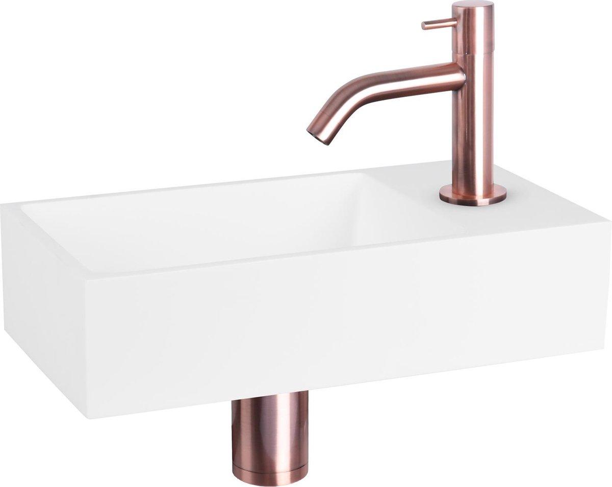 Differnz Solid Fonteinset - Solid Surface Wit - Kraan Gebogen - Rood Koper - 36 x 18.5 x 9 cm