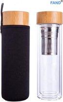 Theeglas met filter - Theefles dubbelwandig 400 ml - Theebeker met zeef - Theefles met filter - Waterfles van glas - Drinkfles - Theeglazen - Zwart.