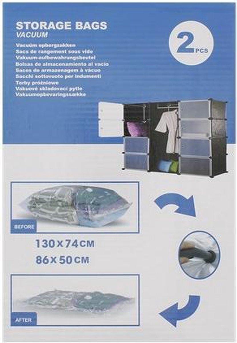 Vacuum Opbergzakken   Bagage kledingzak   2 stuks - 1 Large 130x74 cm - 1 Medium 86x50 cm