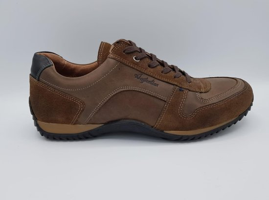 Australian Footwear Heren Sneakers Barclay Bruin Leer - Bruin - maat 47