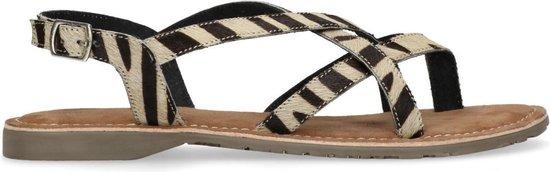 Manfield - Dames - Zebraprint sandalen met gesp - Maat 40