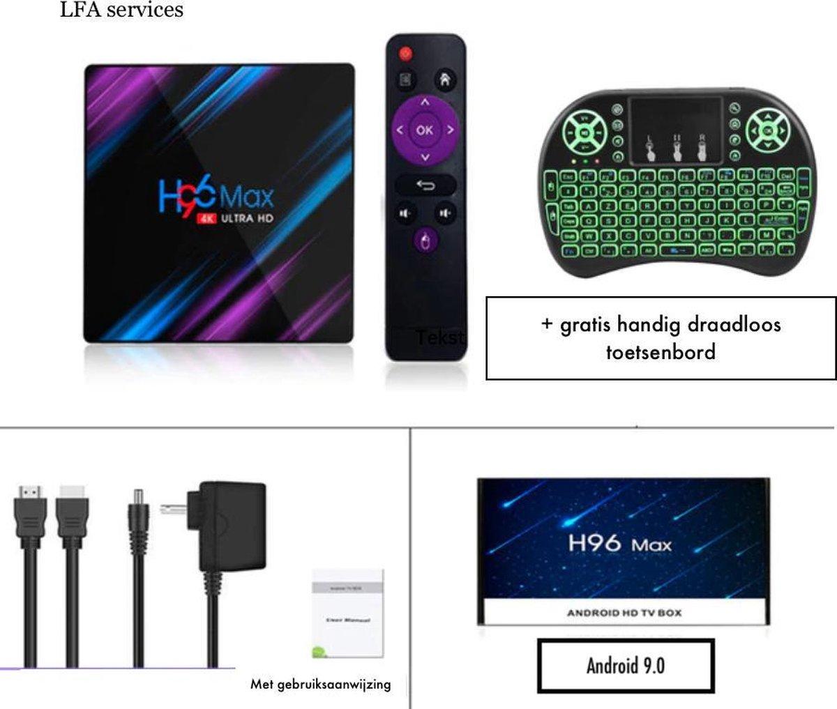 Android 9.0 Tv Box / 4K Kodi 18.4 Netflix Bluetooth Keyboard