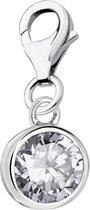 Quiges - Charm Bedel Hanger Zirkonia Kristal - Dames - zilverkleurig - QHC216