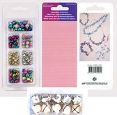 Jewelry bells, 6mm & 8mm, assorted colours + Christmas Bells, Cross  - 3cm - Goud + Draad