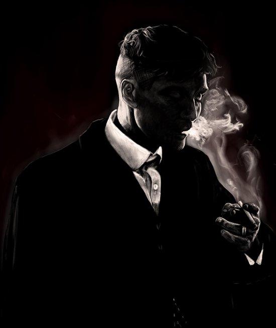 Poster Thomas Shelby - Peaky Blinders - Large 70x50 - Zwart-Wit - Wanddecoratie