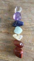 Chakra edelstenen trommelstenen Rode Jaspis-Carneool-Citrien-Aventurijn-Sodaliet-Amethyst-Bergkristal