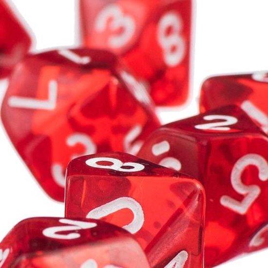 Thumbnail van een extra afbeelding van het spel 10-kantige dobbelstenen (cijfers 0-9) - Rood (5 stuks) / Tienkantige dobbelstenen