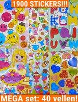 Stickers Voor Kinderen 40 Vellen Meisjes   Mega set oa Hartjes Smilies KMST016