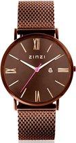 ZINZI ZIW515M horloge - band bruinkleurig -34 mm + gratis Zinzi armbandje