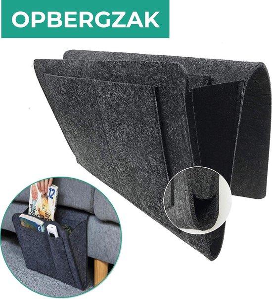 Bed Organizer - Bedside Pocket - Opbergzak Bed  – Opbergvak Bed - armleuning organizer- opbergtas bed - Donkergrijs vilt