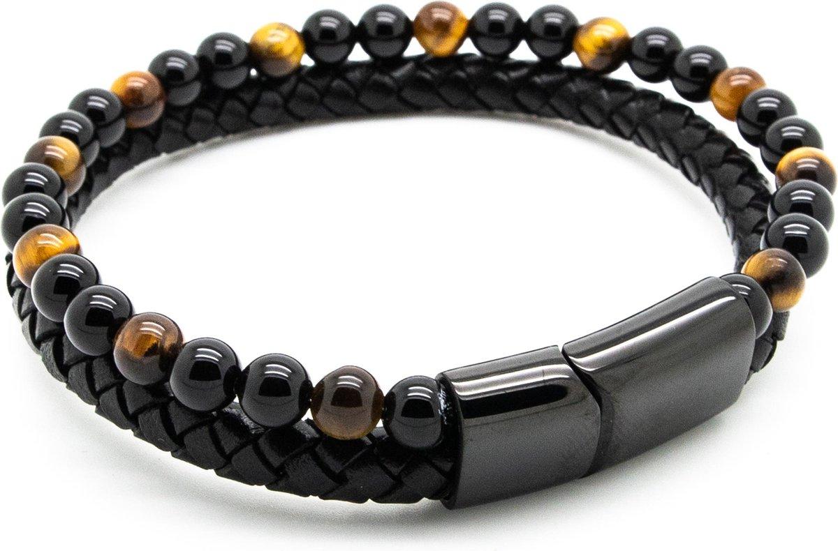 Armband heren   dubbel snoer   zwart gevlochten leer rond - zwart bruin tijgeroog glimmend natuurste