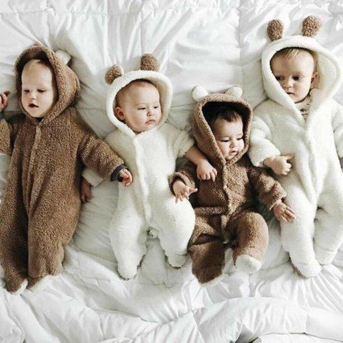 Budino Baby Pyjama Romper Onesie Beer Dier - Bruin - 3 mnd