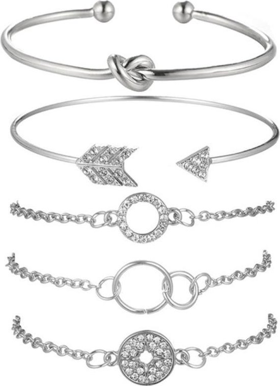 Zilveren Armband Dames Bangle - set 5 - SEVEND®