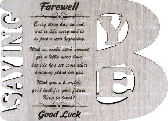 Houten wenskaart - kaart van hout voor een collega of werknemer die weg gaat - Good Luck - Saying Bye