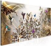 Schilderij - Dans van de Kolibrie , goudlook