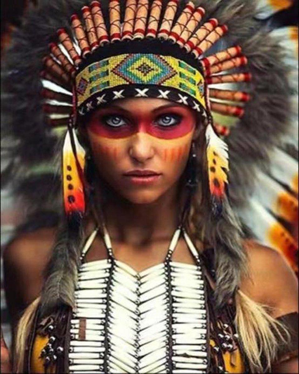 Schilderen Op Nummer Volwassenen - Indiaanse Vrouw 2 - Met Frame - 40x50 cm