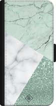 iPhone 12 bookcase leer hoesje - Minty marmer collage