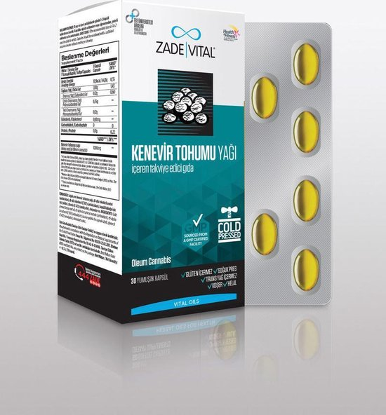 Zade Vital Hennepzaadolie- 30 Capsules (eiwitten, gezonde vetten, vitaminen en mineralen)