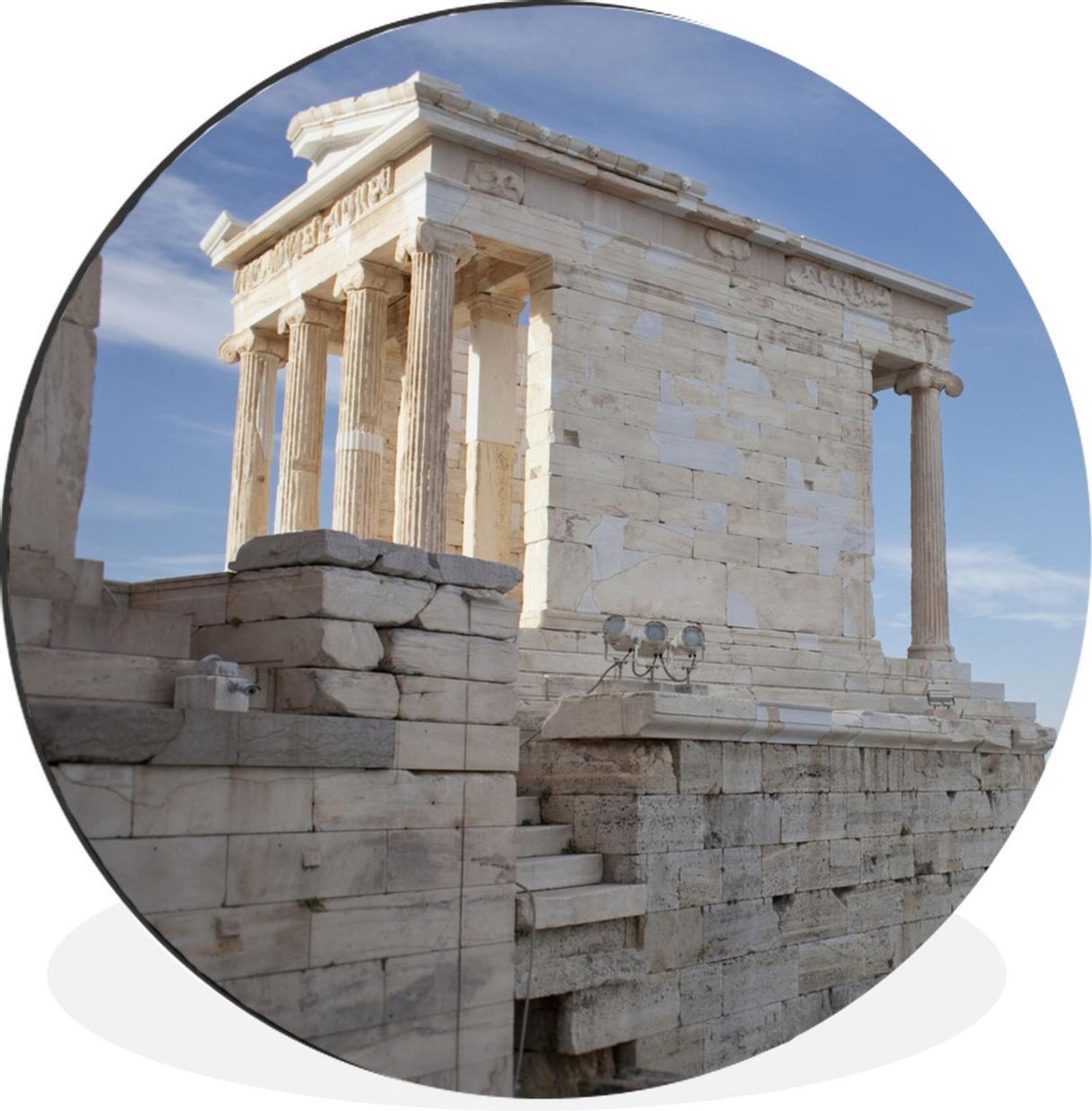 WandcirkelTempel van Nik  aluminium - Tempel van Nik  op Akropolis met Athene op achtergrond -   90 cm