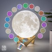 FOOCCA Maanlamp 3D - 18 cm - Tafellamp - Accu 15 tot 89 uur - Maan Lamp met 16 dimbare LED kleuren en Afstandsbediening - Extra Realistisch - Sfeerlamp, nachtlamp en leeslamp