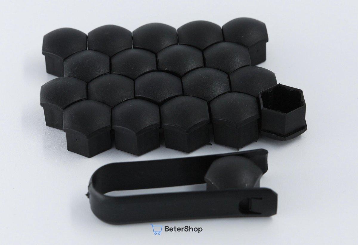 Wielmoerkapjes 17 mm - Zwart Matt - Kunststof - Set van 20 stuks incl. tweezer tool - Universeel