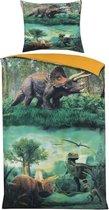 Cotton Club Dekbedovertrek Dinosaurs - 140x200/220 - dinosaurussen - multi kleur