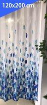 Douchegordijn 120x200 cm (Small) - Met Ophangringen - Makkelijk te Bevestigen - Waterdicht - Polyester - Sneldrogend en Anti Schimmel - Wasbaar en Duurzaam - Blue Petals