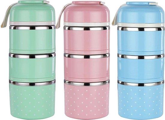 Evolize Bento Lunchbox in Japanse Stijl - Bento Box - 6 Compartimenten - Lekvrij - Milieuvriendelijk RVS - 1650ml - Groen