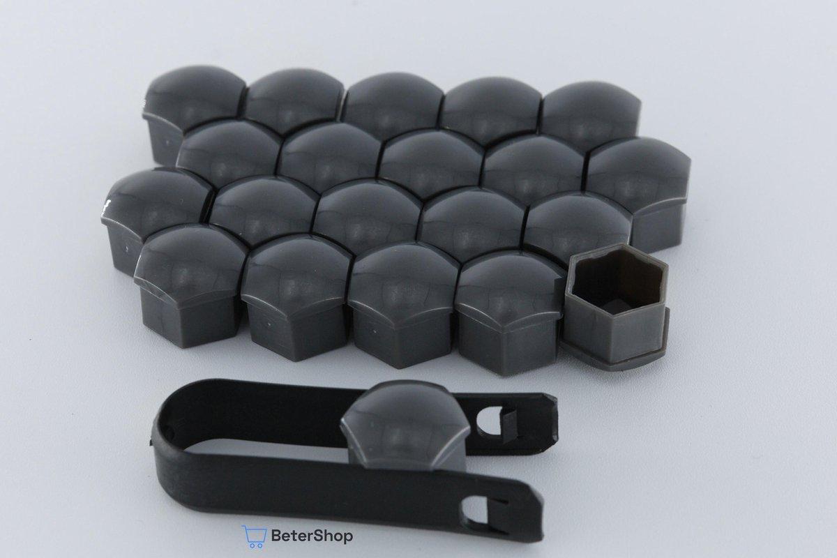 Wielmoerkapjes 17 mm - Grijs / Antraciet Glans - Kunststof - Set van 20 stuks incl. tweezer tool - U