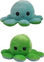 Octopus knuffel – blauw groen - blij en boos knuffel – schattig zachte knuffel – Omkeerbaar - Mood - Octopus Mood - Emotie knuffel