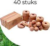 Cederhout Tegen Motten - Set van 40 Stuks - Mottenballen Ringen en Plankjes van Hout om Kleding Duurzaam te Beschermen - voor Kast, Auto etc.
