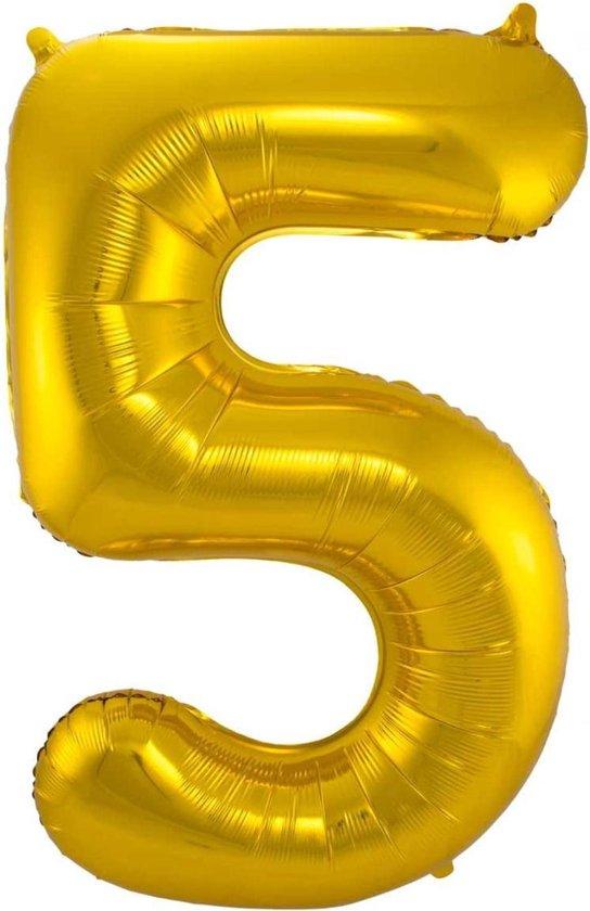 Ballon Cijfer 5 Jaar Goud Verjaardag Versiering Gouden Helium Ballonnen Feest Versiering 86 Cm XL Formaat Met Rietje