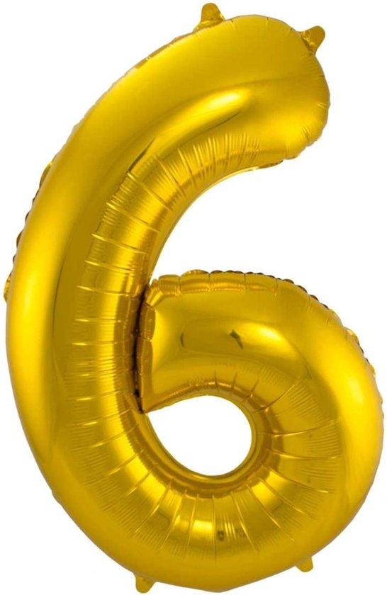 Ballon Cijfer 6 Jaar Goud Verjaardag Versiering Gouden Helium Ballonnen Feest Versiering 86 Cm XL Formaat Met Rietje