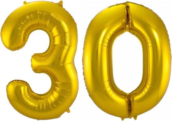 Ballon Cijfer 30 Jaar Goud Verjaardag Versiering Gouden Helium Ballonnen Feest Versiering 86 Cm XL Formaat Met Rietje