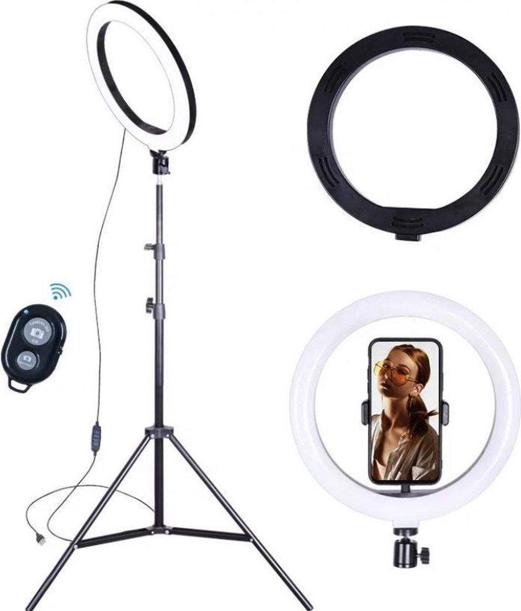 Ringlight Lamp met Statief 70-200 cm / Make Up en Selfie incl bluetooth afstandsbediening