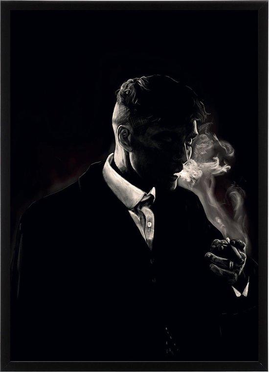 Poster In Zwarte Lijst - Thomas Shelby - Peaky Blinders - Large 70x50 - Wanddecoratie - Wissellijst