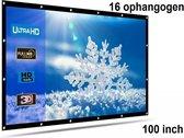 Beamer scherm projectiescherm 100 inch 16:9, lichtgewicht 285 gram met 16 ophangogen, projectie-doek beamerscherm incl ophanghaken
