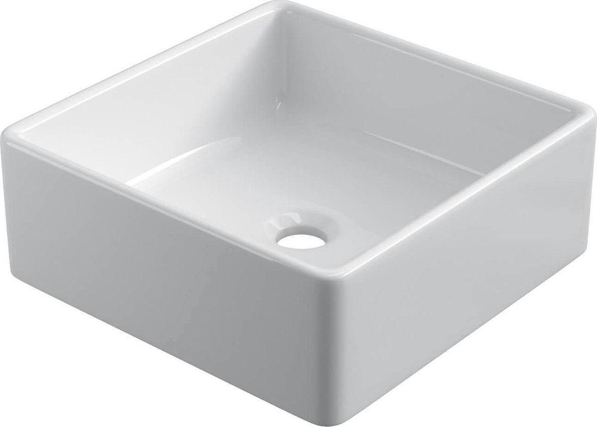 Keramische vierkante opbouw waskom Ibiza 38x38cm wit