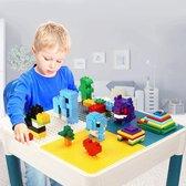 Kindertafel en 2 Stoeltjes met 4 Bakjes en 56 Bouwblokken - Speeltafel -Blokkentafel -  Constructiespeelgoed Kinderen - Constructie Speelgoed Jongens en Meisjes 3, 4, 5, 6 Jaar - Geschikt voor Duplo Bouwstenen