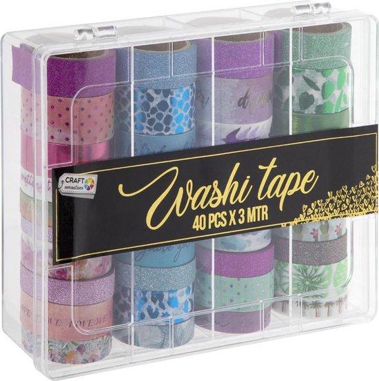 Afbeelding van Washi Tape 40pcs x 3 meter | 40 verschillende designs | Bullet Journal | Craft Sensations speelgoed