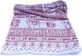 Meditatie omslagdoek met mantra Maha, natuurvezel, XL, 220 x 106 cm, wit, vegan