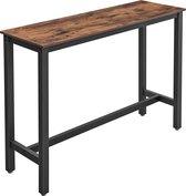VASAGLE bartafel smal, keukentafel, aanrecht, rechthoekige bartafel, stevig metalen frame, 120 x 40 x 100 cm, eenvoudige constructie, industrieel ontwerp, vintage, donkerbruin