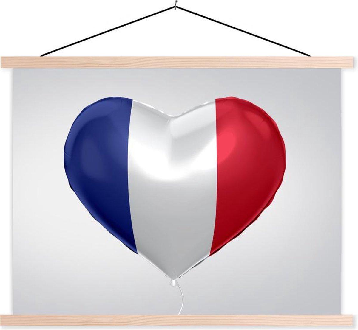 Vlag van Frankrijk in vorm van een hartje schoolplaat platte latten blank 120x90 cm - Foto print op textielposter (wanddecoratie woonkamer/slaapkamer) - Foto print op schoolplaat (wanddecoratie woonkamer/slaapkamer)
