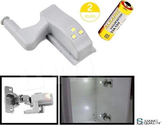SMART QUALITY KASTVERLICHTING LED DRAADLOOS - (VERPAKT PER 2 STUKS) - SCHEEPSVERLICHTING LED - CARAVAN VERLICHTING - CAMPER VERLICHTING - SCHARNIER SENSOR - BOOT VERLICHTING OP BATTERIJEN - WARM WIT 2700K - KAST VERLICHTING - INGEBOUWDE LED STRIP