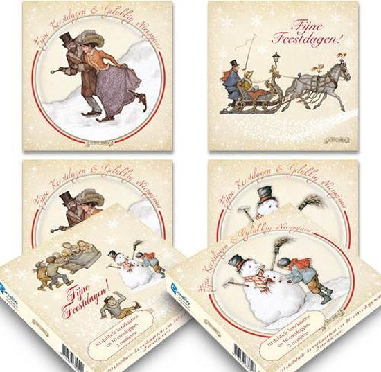 Anton Pieck kerstkaartenboxje (20 krt) set 3