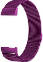 Eyzo Fitbit Charge 3 & 4 band - Roestvrijstaal - Paars - Small