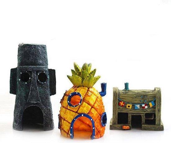 Bikinibroek Aquarium decoratie set (incl. SpongeBob's Ananashuis, de Krokante Krab & Octo's huis)