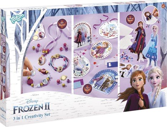 Disney Frozen 2 -  3 in 1 XL creatieve hobbyset - 3 activiteiten in een knutseldoos : sieraden maken, strijkkralen, en kaarten pixelen