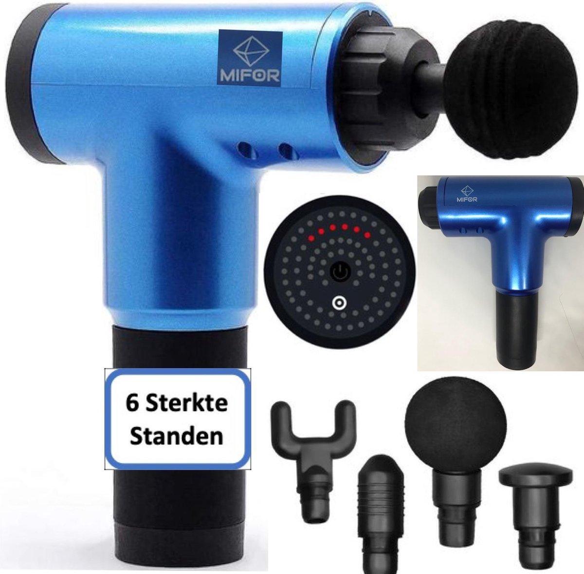 MIFOR  Populair Massage Gun - Lange Batterij - 4 Verschillende Opzetstukken - Blauw